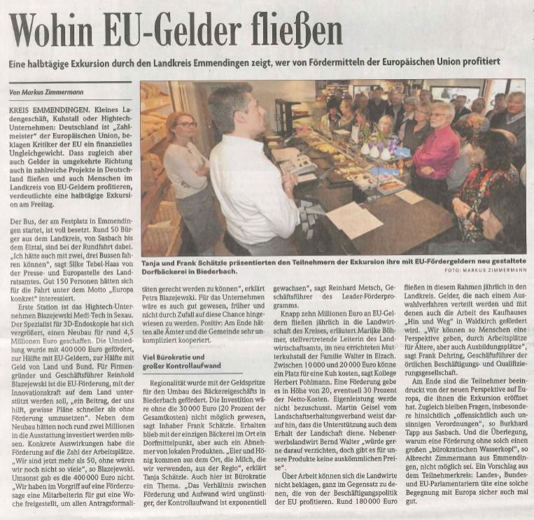 BZ-Artikel - Wohin EU-Gelder