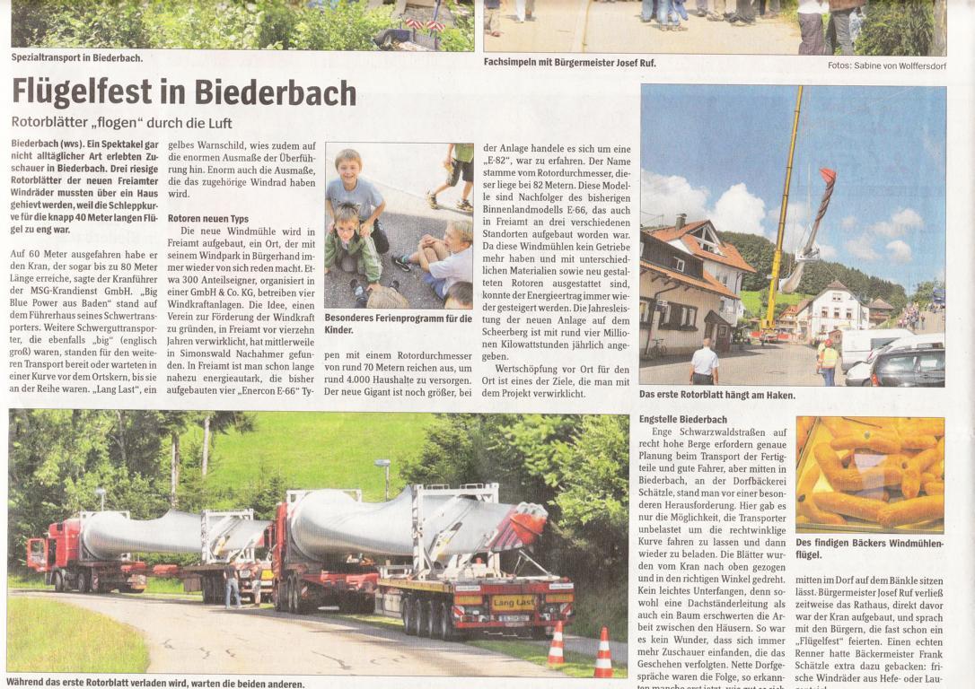 WZO-Artikel - Flügelfest in Biederbach